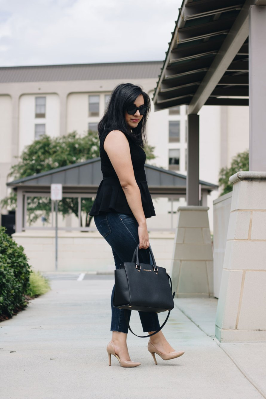 peplum black top heels jeans