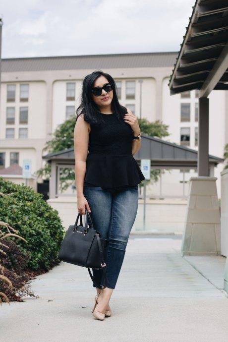 [:en]peplum shirt jeans nude heels