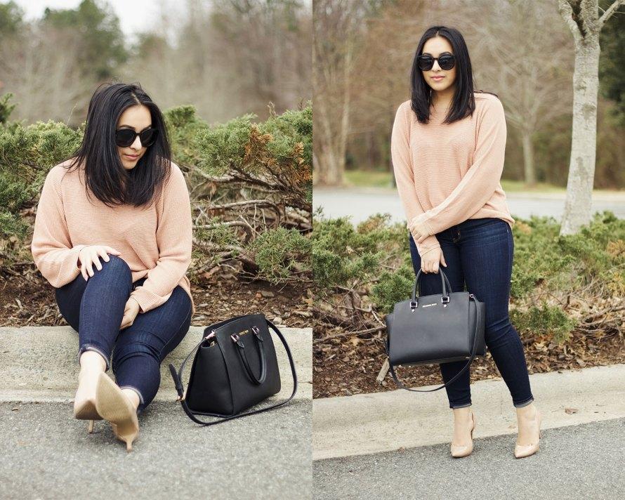 pink sweater dark denim heels
