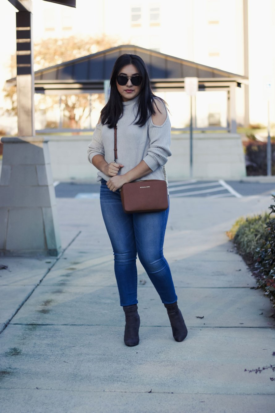 open shoulder gray sweater fall outfit winter outfit styling open shoulder