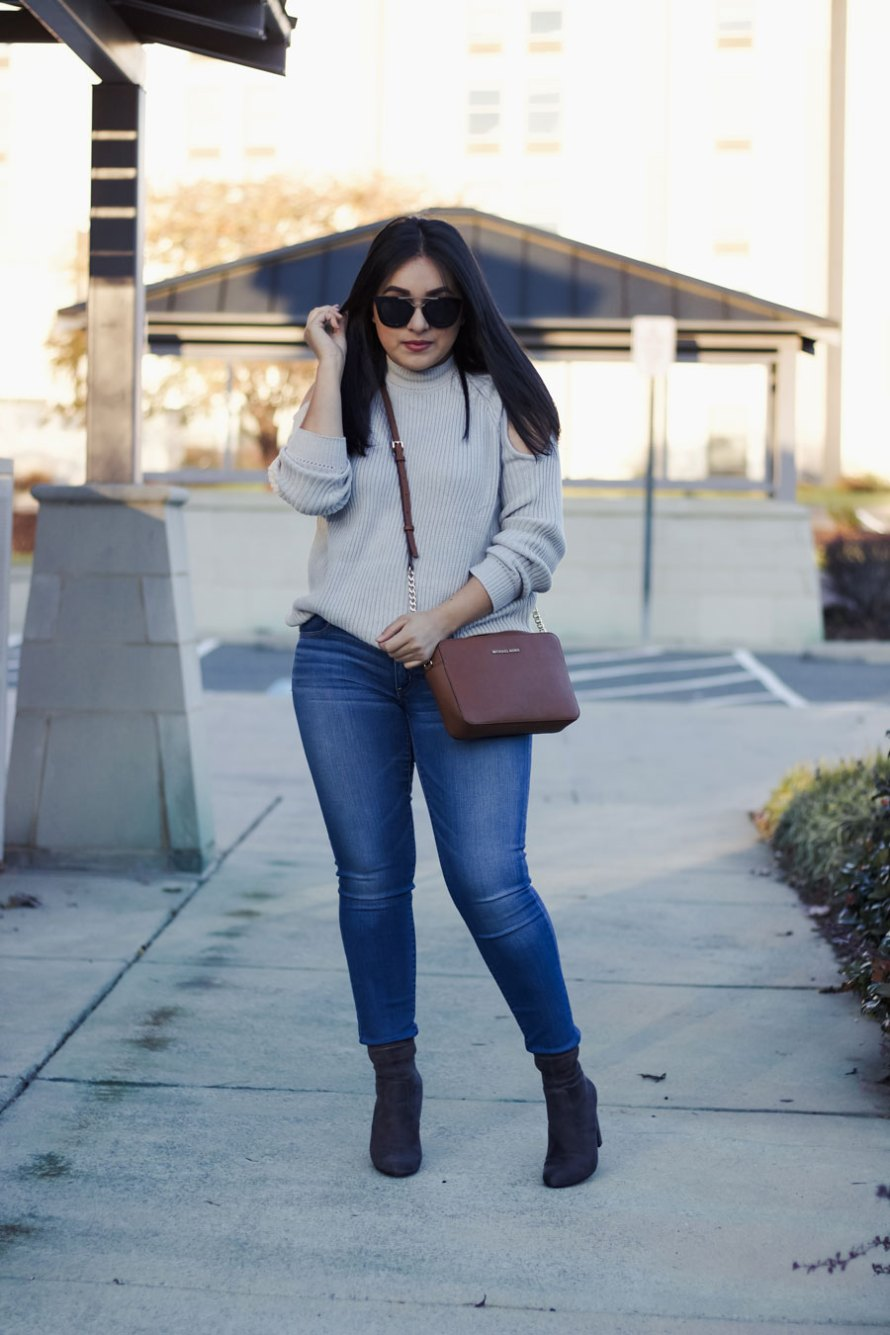 open shoulder grey sweater fall outfit casual chic