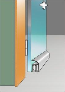 Absenkautomatik für Glastüren