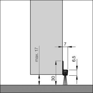 Bodendichtung mit Bürste für Garagentore, Hallentore, Schwingtore, Rolltore | Dollexs4-IBS 32