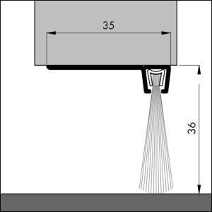 Dollexs6 IBS90-36 Bodendichtung für Garagentore, Winkelschiene