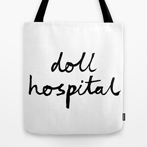 Doll Hospital tote with handwritten logo