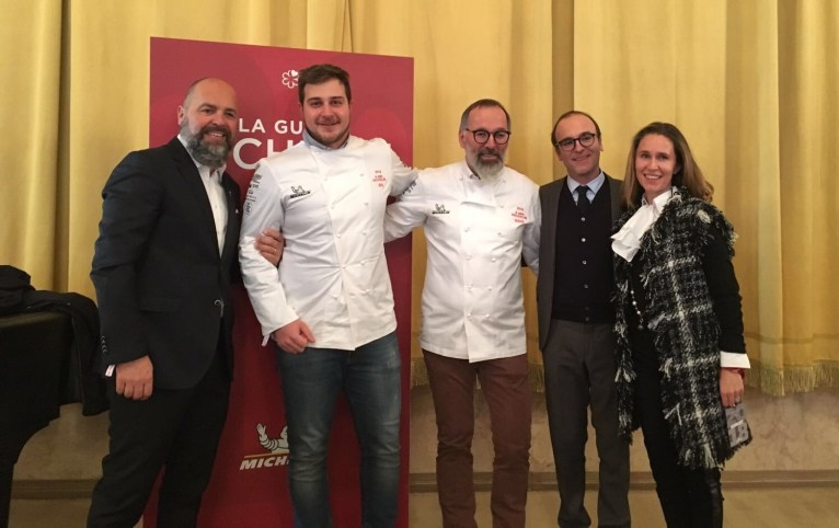 Norbert Niederkofler con Hugo e Ursula Pizzinini, Matteo Metullio con Stefan Wieser