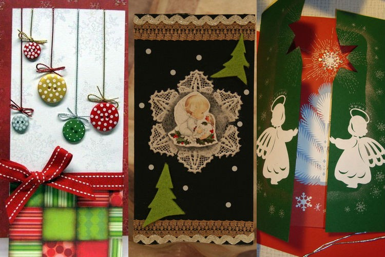 Noel kartı yap-kendiniz: fikirler, talimatlar