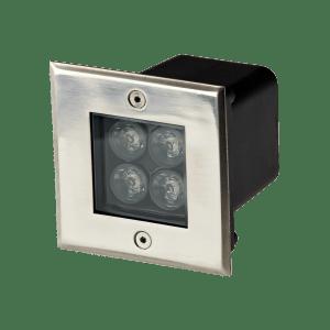 Faretto LED 4W per esterno quadrato con incasso a terra e parete Protezione IP67