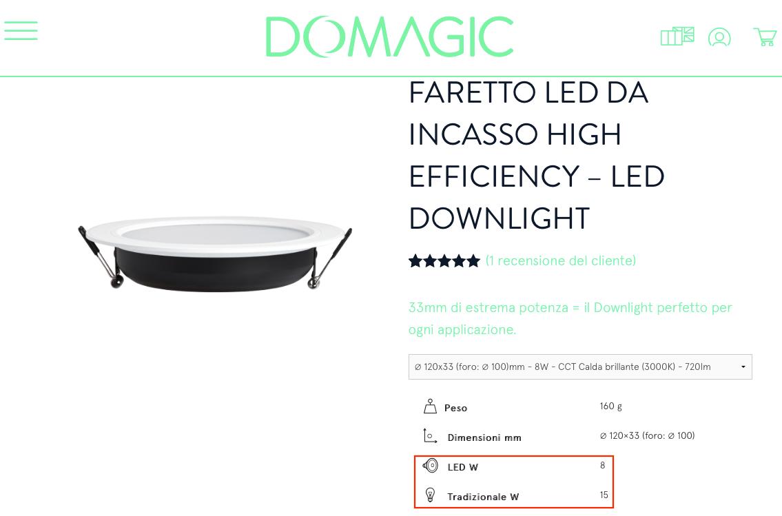Faretti LED incasso equivalenza