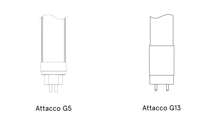 attacchi tubi led g5 g13