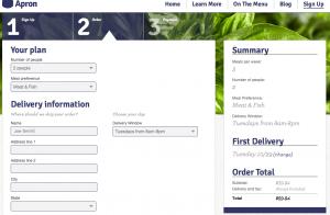 Blue Apron Order Screen
