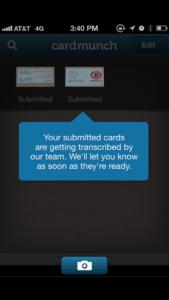 CardMunch Upload Screen