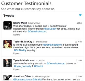 Domain.com Customer Testimonials