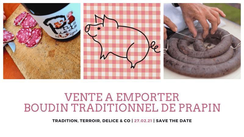 Vente à emporter de fricassée de boudin - Dégustation millésime 2020 avec petit marché local des monts du lyonnais