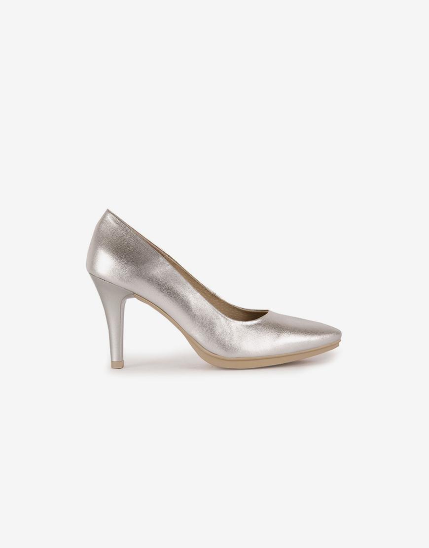 Zapato salón mujer piel metal