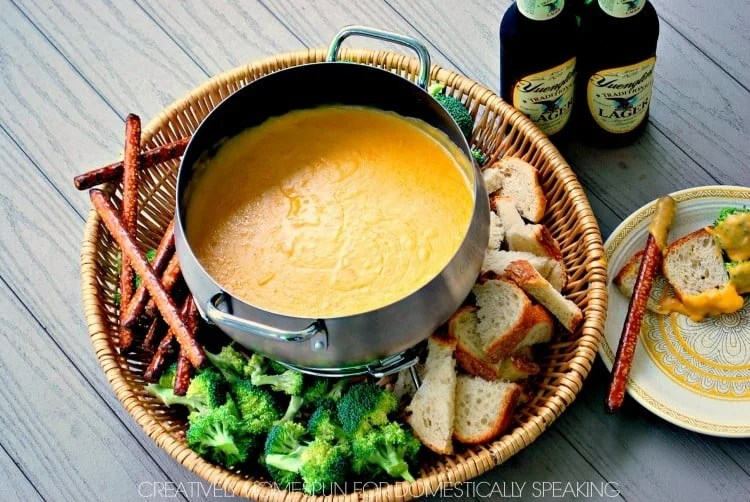 Cheddar Cheese Beer Fondue Recipe|| Creatively Homespun for Domestically Speaking