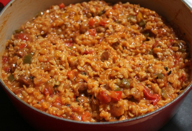brown-rice-jambalaya-with-shrimp-chicken-sausage-and-bell-peppers-step-4
