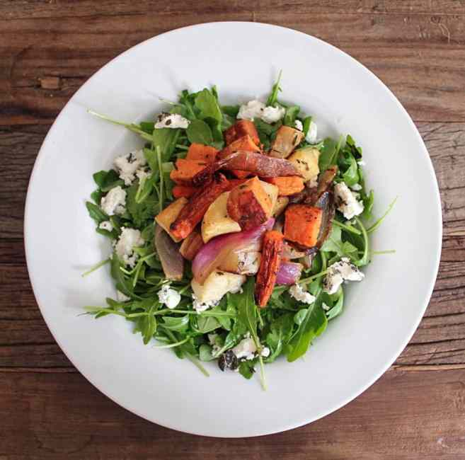 Roasted-Root-Vegetable-Salad-with-Herbed-Goat-Cheese-and-Arugula-16