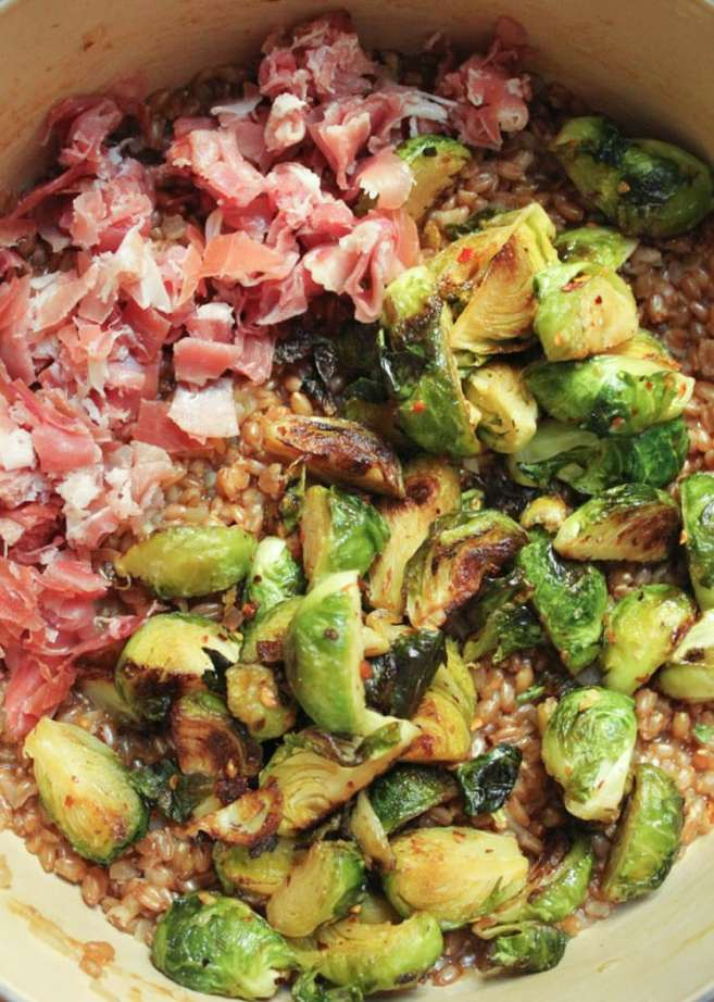 Farro-risotto-with-prosciutto-parmesan-and-brussels-sprouts-step-7
