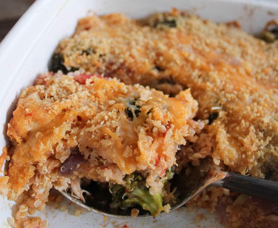 Roasted Broccoli Chicken And Cheddar Quinoa Bake