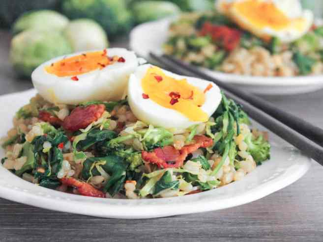 healthy-bacon-fried-brown-rice-with-broccoli-wilted-greens-and-egg-3