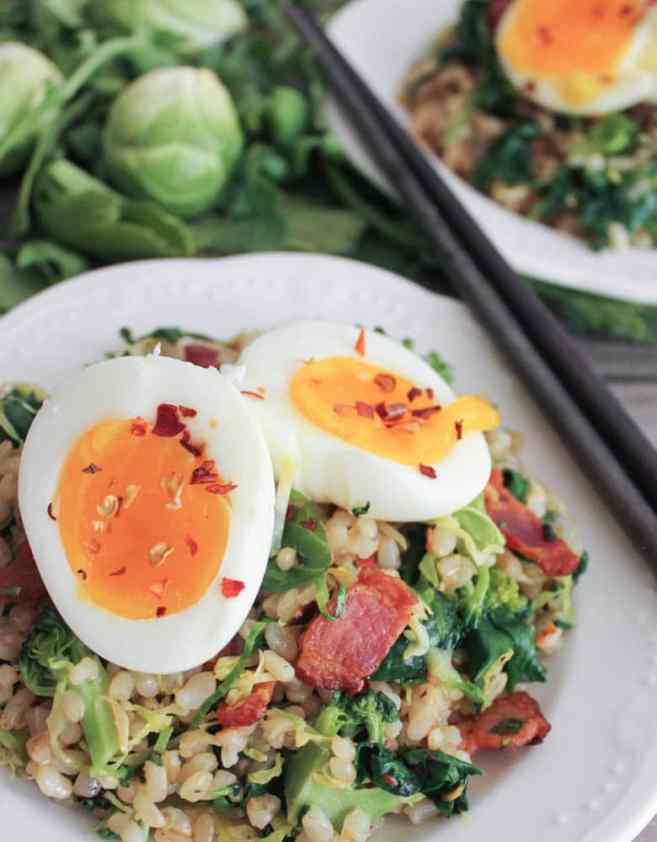 healthy-bacon-fried-brown-rice-with-broccoli-wilted-greens-and-egg-4