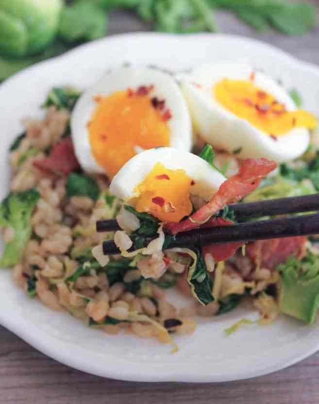 healthy-bacon-fried-brown-rice-with-broccoli-wilted-greens-and-egg-7