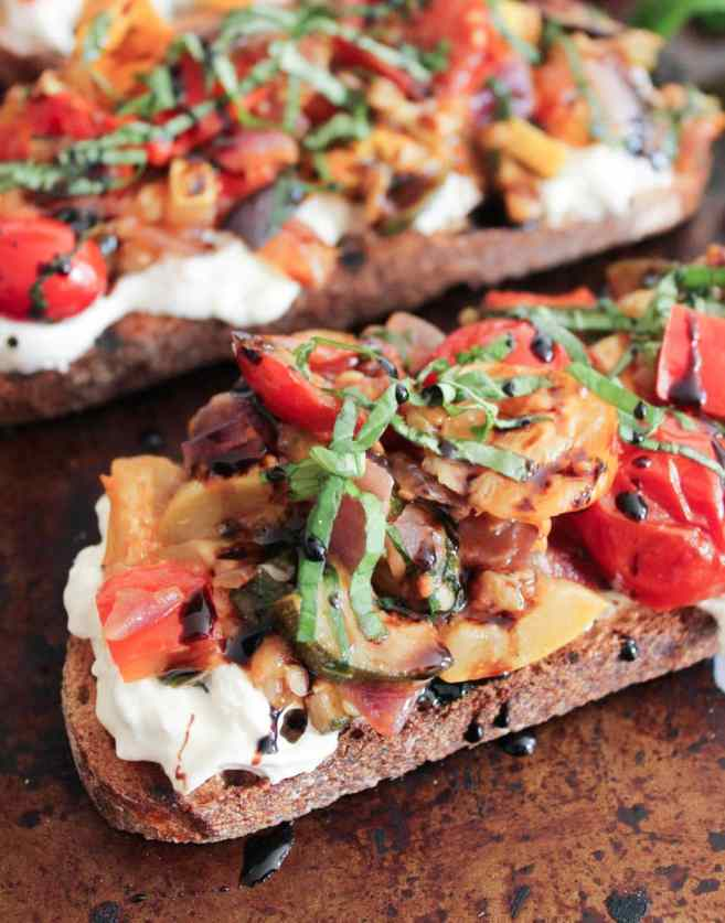 Ratatouille-Tartines-with-burrata-and-honey-balsamic-drizzle