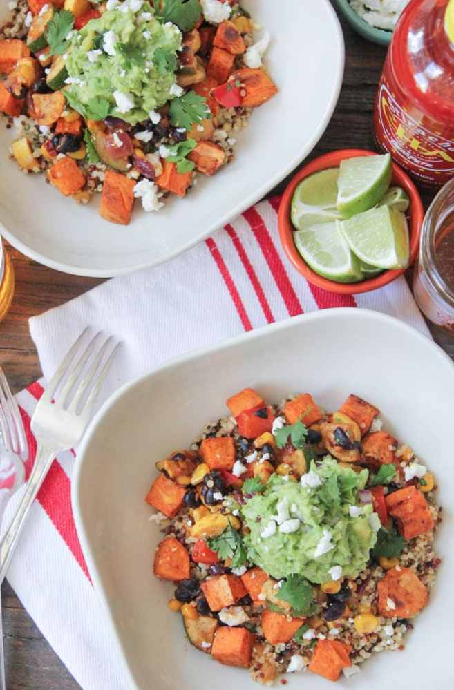 Vegan-Sweet-Potato-Burrito-Bowls-with-Summer-Vegetables-and-Quinoa-2