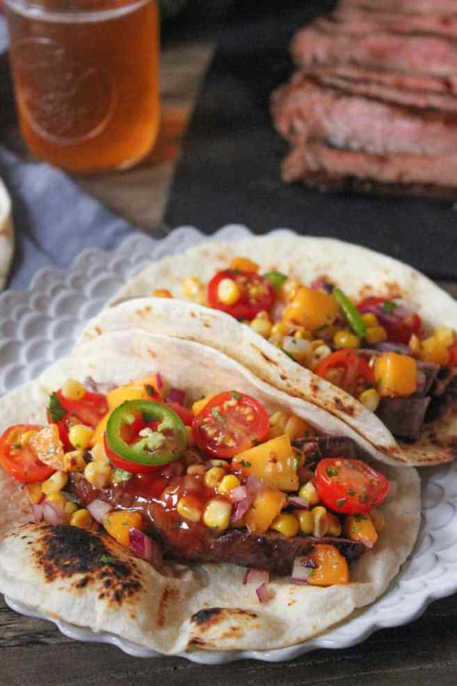 Barbecue-Flank-Steak-Tacos-with-Corn-Peach-Salsa-11
