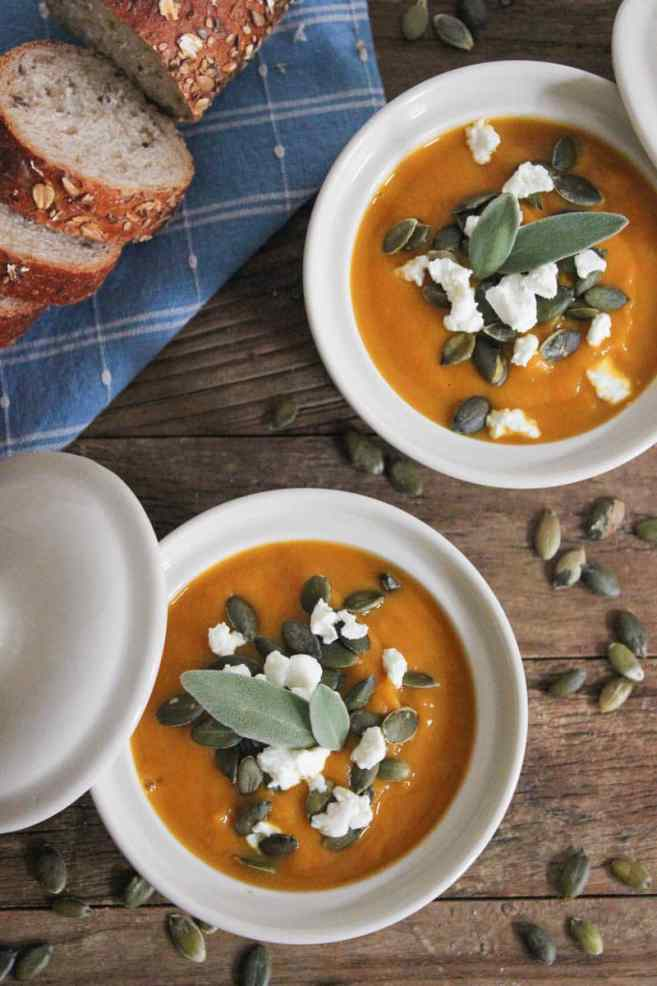 Butternut-Squash-Soup-with-Roasted-Garlic-Goat-Cheese-and-Pepitas