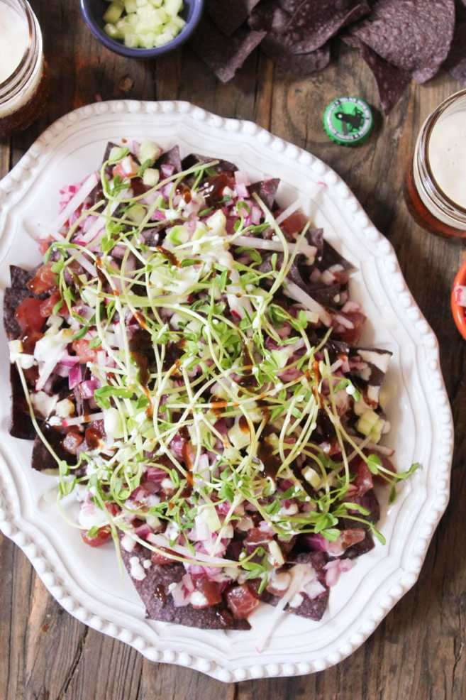 Ahi-Nachos-with-pickled-red-onion-wasabi-crema-step-3