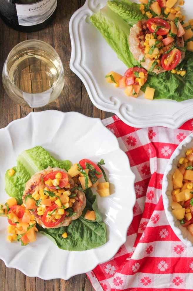 chicken-and-goat-cheese-burgers-with-peaches-corn-and-cherry-tomatoes-5
