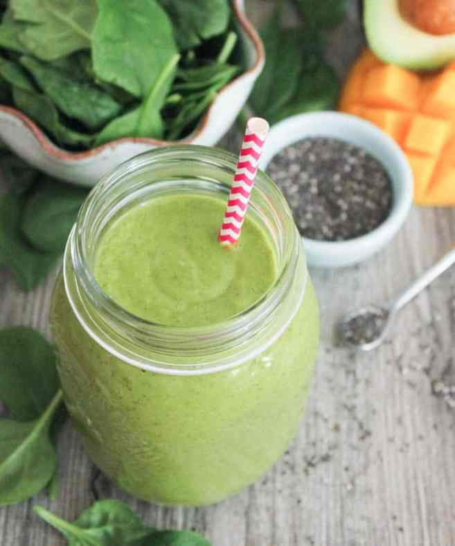vegan-tropical-green-smoothie-with-avocado-spinach-mango-pineapple-and-chia-seeds-7