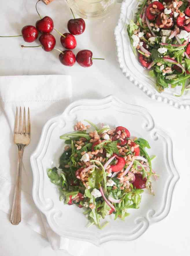 Arugula-and-Farro-Salad-with-Cherries-and-Goat-Cheese-4