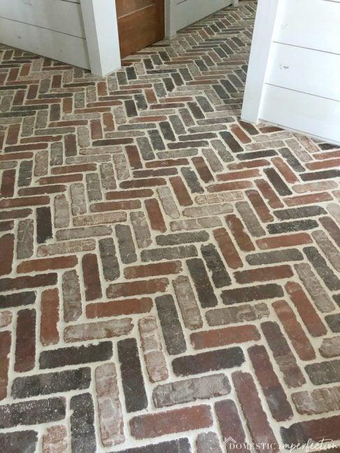 herringbone brick paver floor