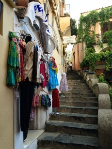 Winding streets with stairs and shops