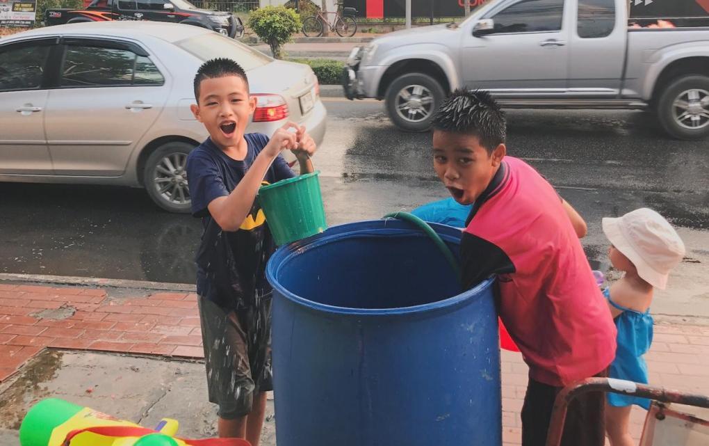 Children Playing Songkran Fun
