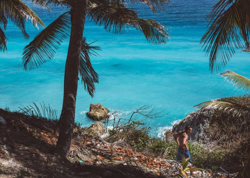 Admiring the cyan-cerulean blue color of the Barahona beaches from the side of a mountain.