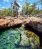 dominican republic natural pool enclosed by rocks and cacti