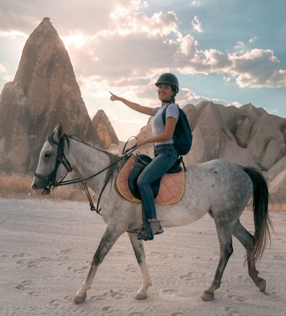 riding a horse in cappadocia