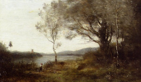 Camille Corot, Strolling along the Banks of a Pond