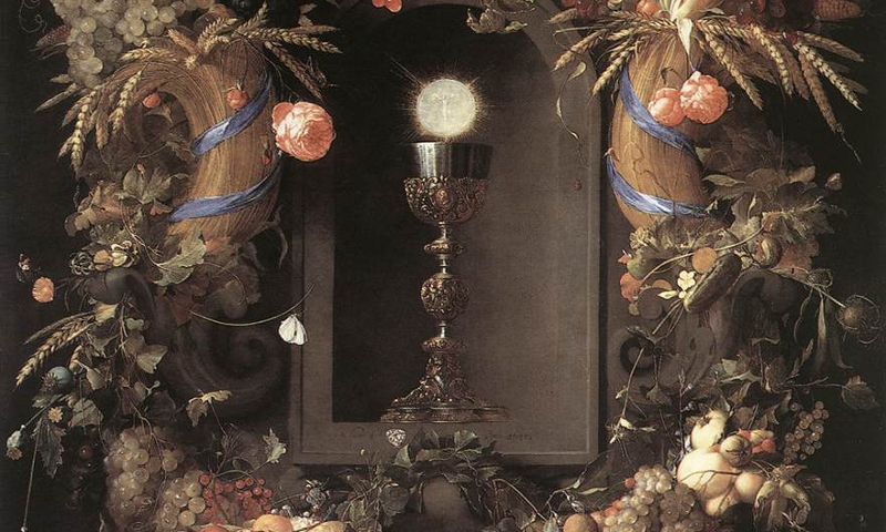Jan Davidszoon de Heem — Eucharist in Fruit Wreath