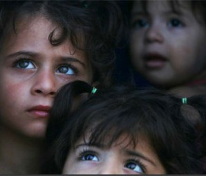 Displaced Syrian Christian Children Waiting for Food Rations