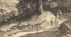 Jean Morin (French, c. 1600 - 1650 ), Edge of a Wood with Travelers in a Carriage, , etching, Ailsa Mellon Bruce Fund 1982.51.3