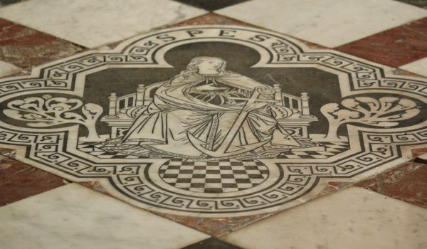 """Spes"" in a marble floor"