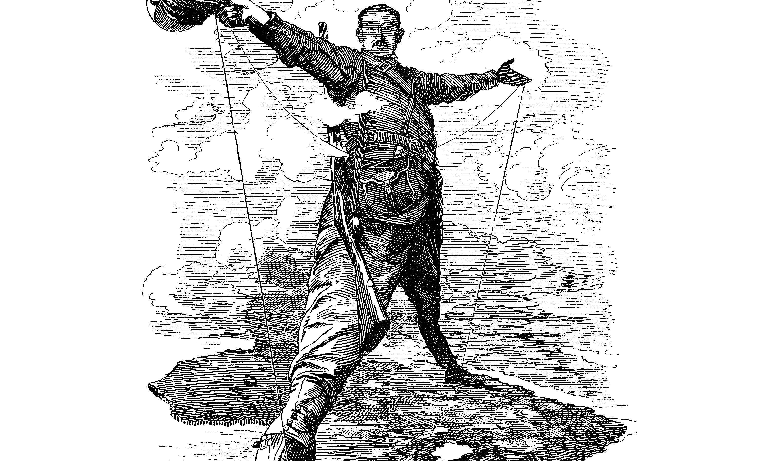 The Rhodes Colossus: Caricature of Cecil John Rhodes, after he announced plans for a telegraph line and railroad from Cape Town to Cairo.
