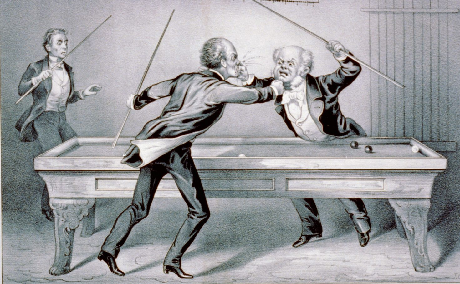 Two men fighting over a pool table.a
