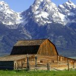 The John Moulton Barn on Mormon Row at the base of the Grand Tetons, Wyoming