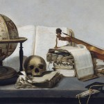 Jan Davidszoon de Heem, Vanitas Still life with Books, a Globe, a Skull, a Violin and a Fan